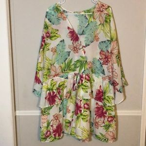 Umgee | Size 1X Floral Tropical Print Romper